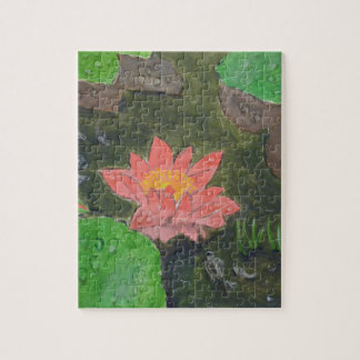 Acrylic on canvas, pink water lily flower jigsaw puzzle