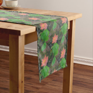 Acrylic on canvas, pink water lily flower short table runner
