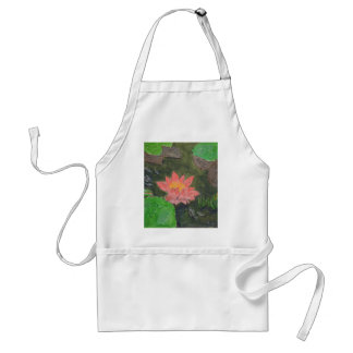 Acrylic on canvas, pink water lily flower standard apron