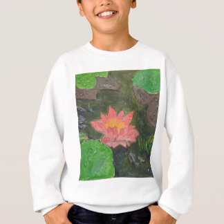 Acrylic on canvas, pink water lily flower sweatshirt