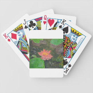 Acrylic on canvas, pink waterlily and green leaves bicycle playing cards