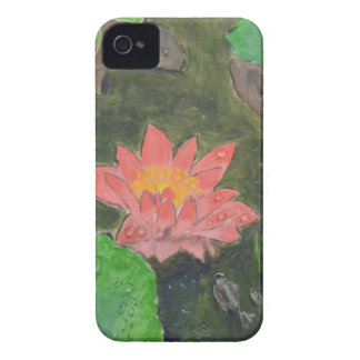 Acrylic on canvas, pink waterlily and green leaves iPhone 4 cases