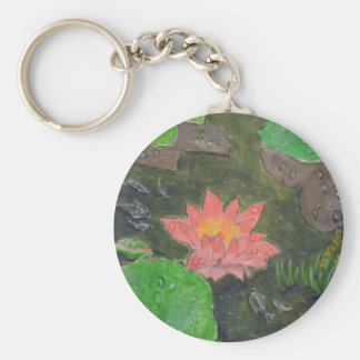Acrylic on canvas, pink waterlily and green leaves key ring