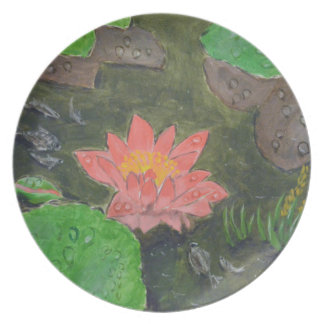 Acrylic on canvas, pink waterlily and green leaves plate