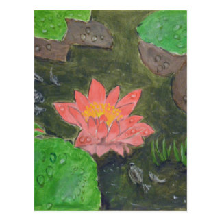 Acrylic on canvas, pink waterlily and green leaves postcard