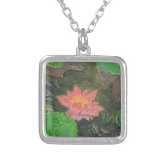 Acrylic on canvas, pink waterlily and green leaves silver plated necklace