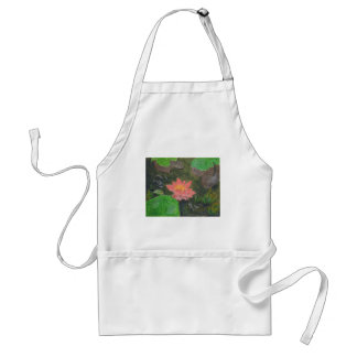 Acrylic on canvas, pink waterlily and green leaves standard apron