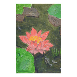 Acrylic on canvas, pink waterlily and green leaves stationery