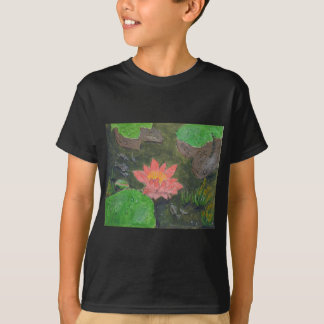 Acrylic on canvas, pink waterlily and green leaves T-Shirt