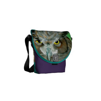 Acrylic Owl (Purple/Turquoise) Courier Bag