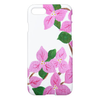 Acrylic painted bougainvillea on iphone case