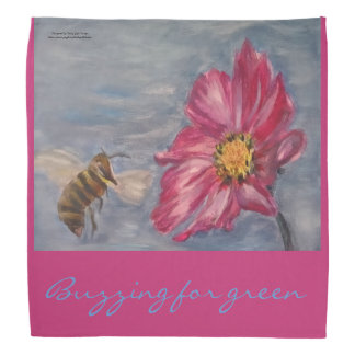 Acrylic painting Bee Buzzing on Daisy in Garden Bandana