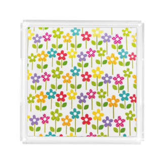 Acrylic Square Tray with Colorful FLoral Design