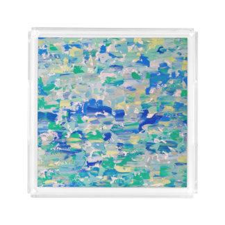 Acrylic Tray, Palette Knife Blues & Greens Acrylic Tray