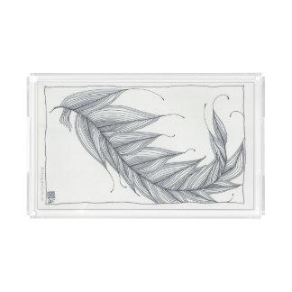 Acrylic Tray, Sophisticated Feather Design Acrylic Tray