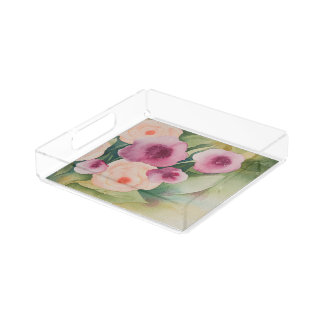 Acrylic Tray with Florals