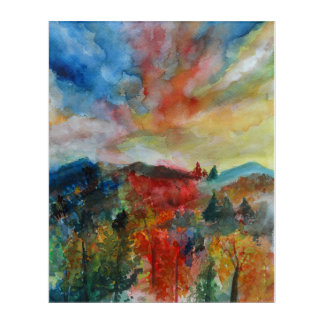 Acrylic Wall Art, Autumn Landscape Watercolor Art
