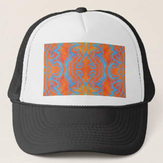 Acryllic Abstract Orange and Blue Trippy Pattern Trucker Hat