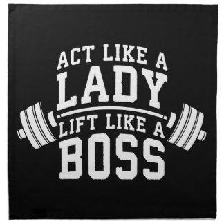 Act Like A Lady, Lift Like A Boss, Women's Fitness Napkin