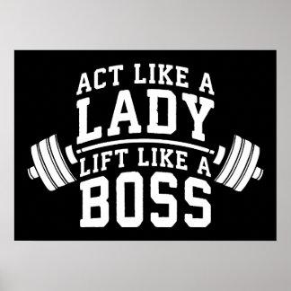 Act Like A Lady, Lift Like A Boss, Women's Fitness Poster