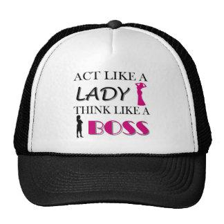 Act Like A Lady Think Like A BOSS Trucker Hats