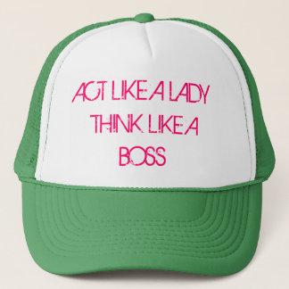 act like a lady think like a boss trucker hat