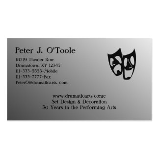 Acting Theater Arts Business Card