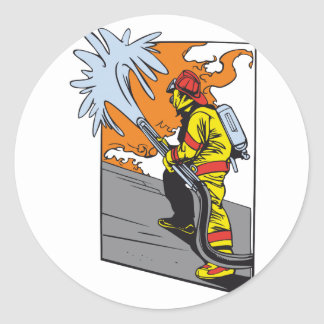 Action Firefighter Classic Round Sticker