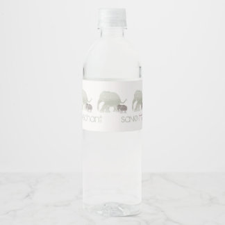 Action/Fundraising Day Save the Elephant Slogan Water Bottle Label