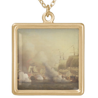 Action Off the Cape of Good Hope, March 9th, 1757 Gold Plated Necklace