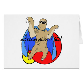 Action Sloth Colored Greeting Card