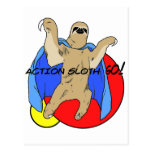 Action Sloth Coloured Postcard