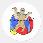 Action Sloth Coloured Round Sticker