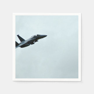 Action Themed, A Fighter Plane Turing In Clear Sky Paper Napkin