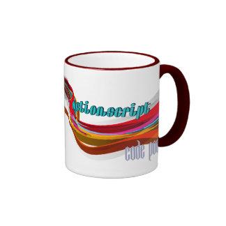 ActionScript- Red Orange Gray Smooth wave Ringer Coffee Mug