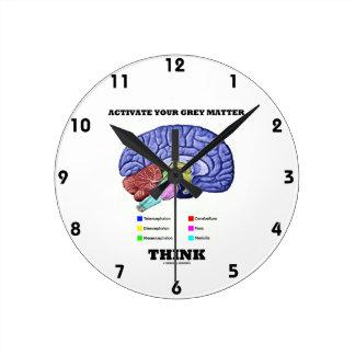Activate Your Grey Matter Think (Anatomical Brain) Round Clock