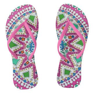 Activating Abundance Mandala Ladies Flip Flops