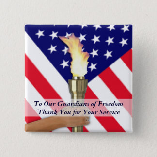 Active Duty Military or Retired Veterans Thank You 15 Cm Square Badge