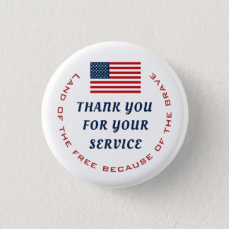 Active Duty or Retired Veteran Military Thank you 3 Cm Round Badge