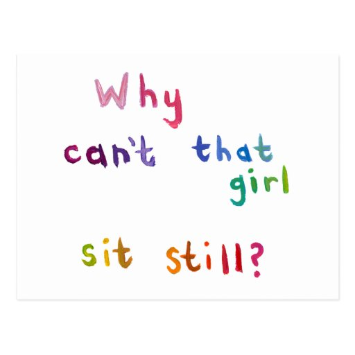 Active girls can't sit still busy women fun art postcard