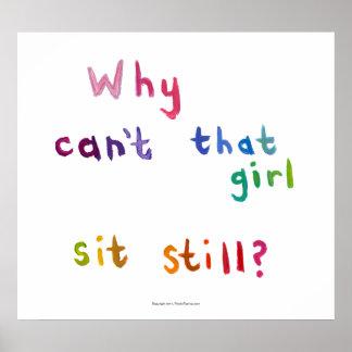 Active girls can't sit still busy women fun art poster