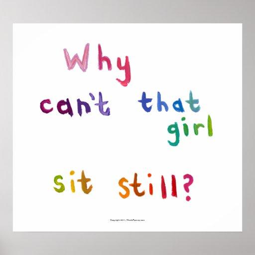 Active girls can't sit still busy women fun art print