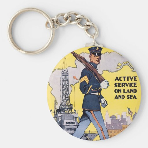 Active Service on Land and Sea Key Chain