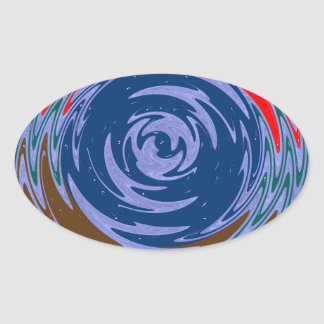 ACTIVE TORNADO waves art Graphic ARTISTIC GIFTS Oval Sticker