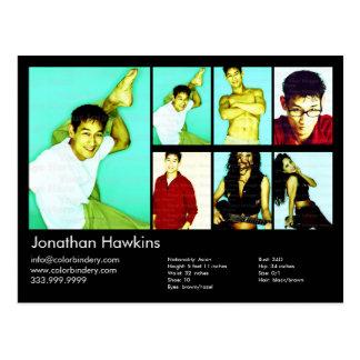 Actor & Model Black Headshot Comp Postcard