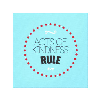 Acts of Kindness Rule Wrapped Canvas – Blue