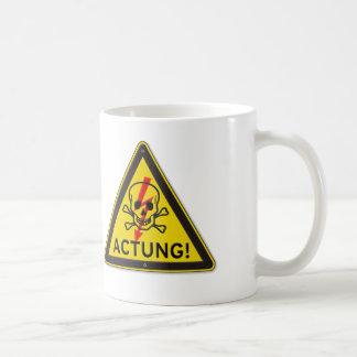 Actung Toxic Skull and Crossbones Warning Sign Coffee Mug
