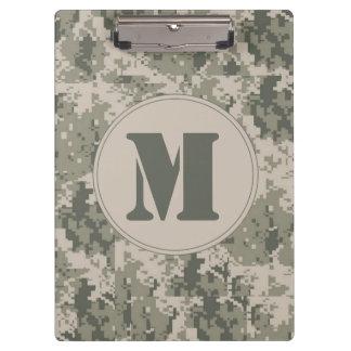 ACU Camo Camouflage Monogram Initial Clip Board