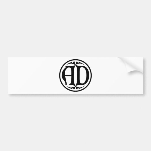 AD Monogram - Black Coin / Gothic Style Bumper Sticker