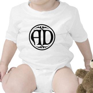 AD Monogram - Black Coin Gothic Style Baby Creeper